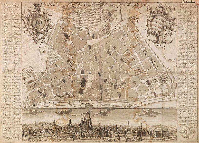 Mainz, Karte, 1755 von Atelier Liesjes