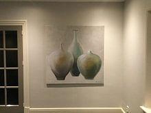 Klantfoto: Stijlvolle combinatie van vazen in pasteltinten van Ine Straver