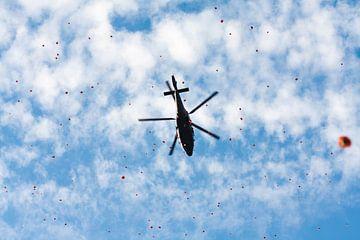 Regen van bloemen vanuit een helikopter van Roque Klop
