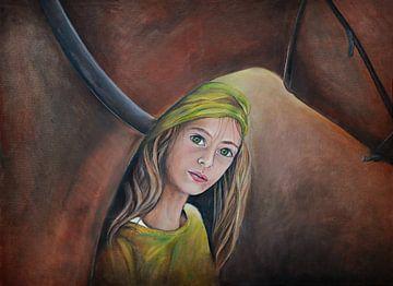 paardenmeisje ( horsegirl) olieverfschilderij van Els Fonteine