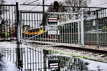 Spoorwegmuseum - Hek met treinen van Wout van den Berg