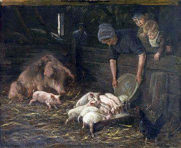 Die Wochenstube - Schweinekoben, Schwein, Schweineställe, MAX LIEBERMANN, 1888