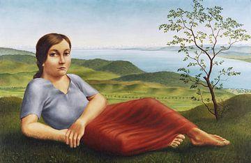 Mädchen vor Seelandschaft, Georg Schrimpf, 1923 von Atelier Liesjes
