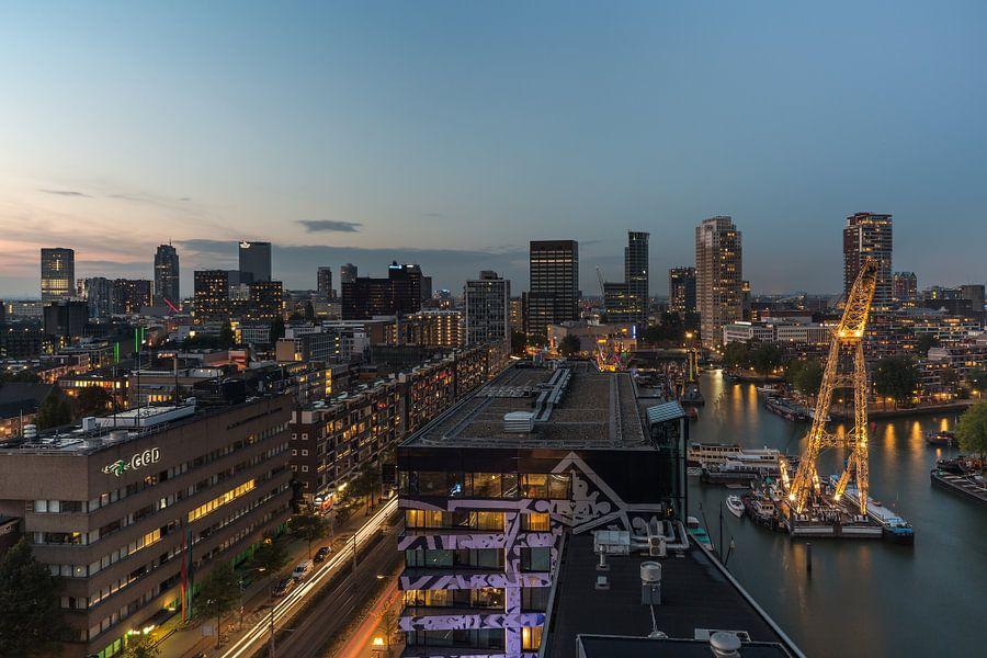 Panorama van de binnenstad van Rotterdam van MS Fotografie