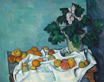 Paul Cézanne. Stilleben mit Äpfeln und einem Topf von Primeln von 1000 Schilderijen