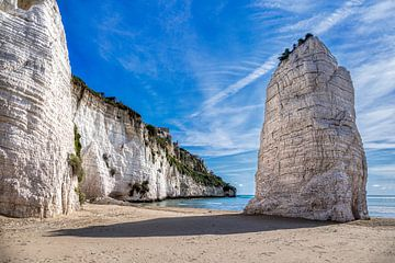 Pizzomuno Kalksteen Monoliet en strand, Vieste, Italië van Adelheid Smitt