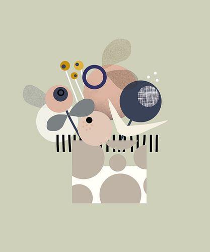 Grafisch, minimalistisch en moderne print van bloemen in een pot.  van