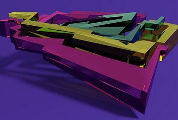 Tha Maze 6-2-2 (on Blue) van Pat Bloom - Moderne 3d en abstracte kubistiche kunst