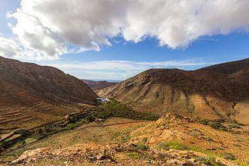 Landschap met vulkanisch gebergte en stuwmeer in Fuerteventura van Reiner Conrad