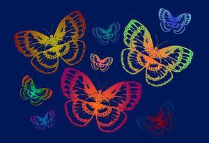 Bunte Schmetterlinge auf Blau