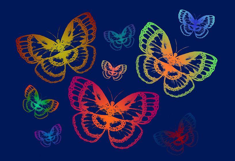 Bunte Schmetterlinge auf Blau von ZeichenbloQ