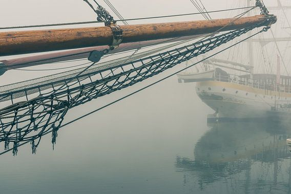 Mistige morgen langs de IJsselkade