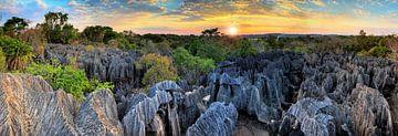 Tsingy zonsondergang panorama von Dennis van de Water