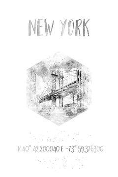 Koordinaten NYC Manhattan Bridge | Aquarell Monochrom von Melanie Viola
