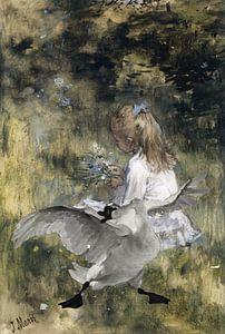Der bedrohte Schwan und ein Mädchen mit Blumen von Eigenwijze Fotografie