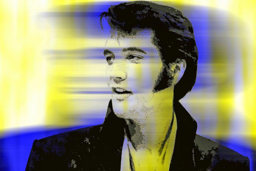 Elvis Presley Abstrakt Pop Art Porträt in Gelb Blau von Art By Dominic