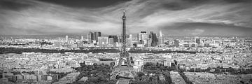 Paris Skyline | Panorama Monochrom von Melanie Viola