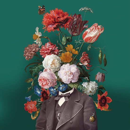 Zelfportret met bloemen 3