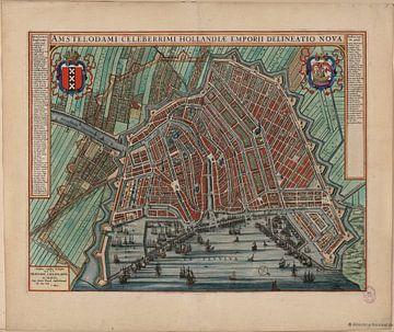 Amsterdam, Stadsplattegrond Joan Blaeu 1652 van Atelier Liesjes