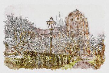 De Grote Kerk in Veere (aquarel) van Art by Jeronimo
