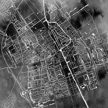 Delft | Stadtplan Schwarz Aquarell | Quadrat von Wereldkaarten.Shop