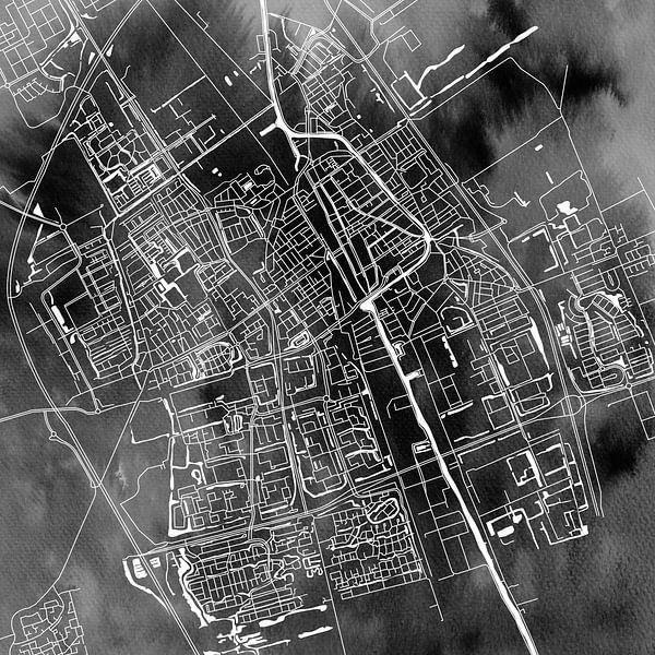 Delft Stadskaart | Zwarte Aquarel | Vierkant of als Wandcirkel van Wereldkaarten.Shop