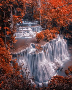 Autumn waterfal van Niels Tichelaar
