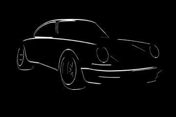 Porsche 911 (964) Turbo vintage klassieke raceauto motorsport van Achim Lanser Illustrationen
