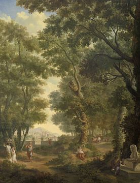 Arkadische Landschaft mit zwei Kinder an einem Brunnen, Jurrian Andrie