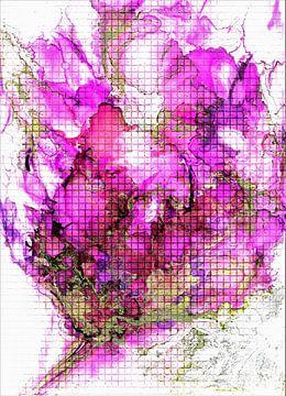 Paarse hibiscus in mozaïek van Ineke de Rijk
