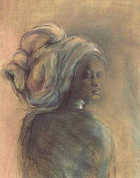 Afrikaanse vrouw met hoofdtooi. van Ineke de Rijk