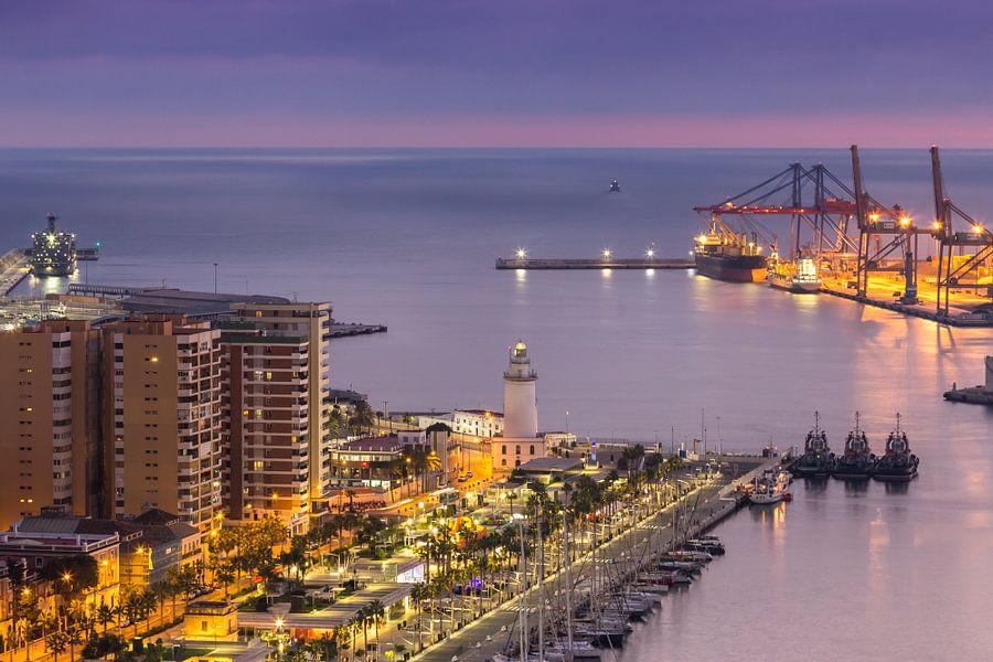 Zonsondergang haven Malaga