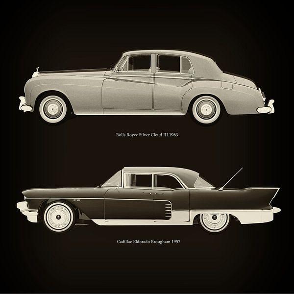 Rolls Royce Silver Cloud III 1963 en Cadillac Eldorado Brougham 1957 van Jan Keteleer
