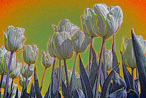 Tulpen in de lente, impressionistisch
