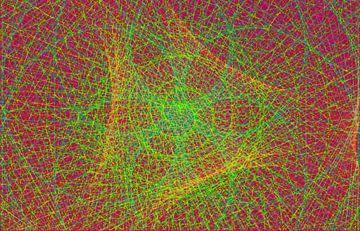 Lijnenspel, rood en groen van Rietje Bulthuis
