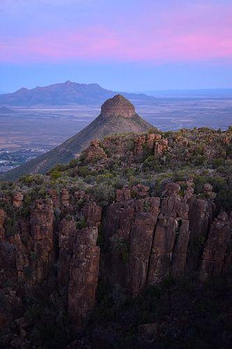 Roze zonsondergang, Valei der Verlatenheid, Zuid-Afrika