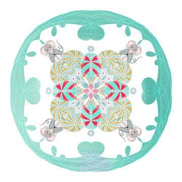 Tier-Mandala, die Maus. von Kirsten Jense Illustraties.