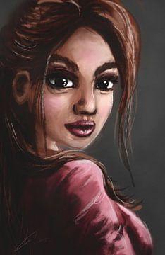 Frau mit rosa Lippenstift und rosa Hemd. Porträt eines fiktiven weiblichen Modells. von Emiel de Lange