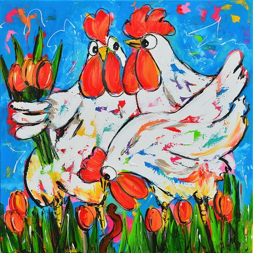 Hühner mit Tulpen