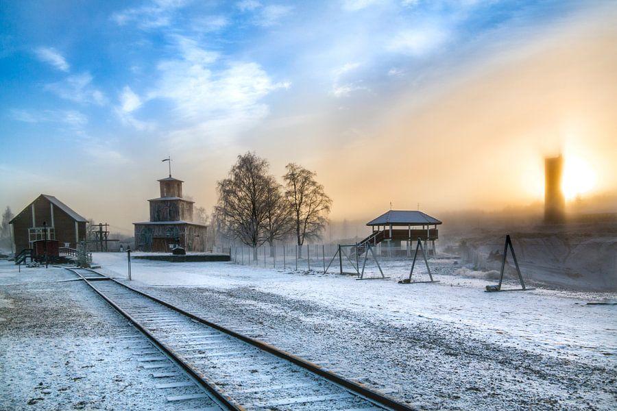 Mystieke ondergaande zon in Falun