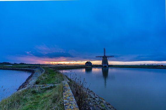 Molen Het Noorden Texel zonsondergang somber