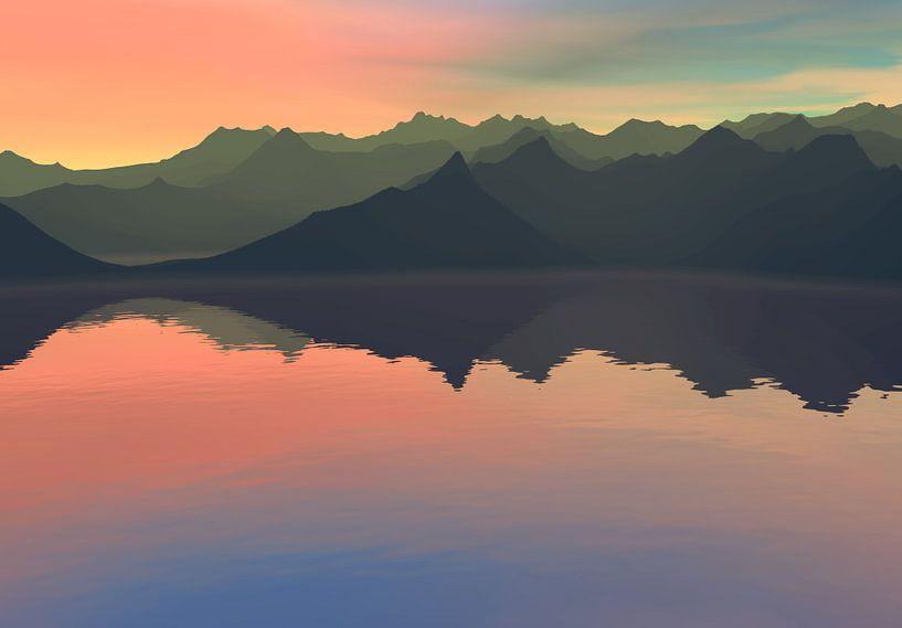 Coucher de soleil dans les montagnes 15 van Angel Estevez