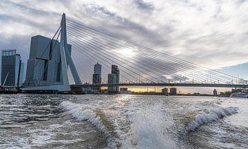 Rotterdam, Erasmusbrug vanaf de watertaxi van Ingrid Aanen