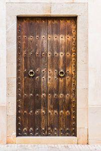 Oude rustieke bruine houten voordeur huisingang van Alex Winter