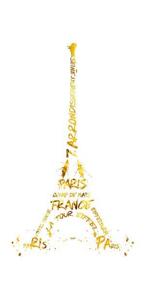 Digitale Kunst eiffeltoren | panoramisch wit & goud van Melanie Viola