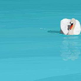 Witte zwaan blauw water van Jan Brons