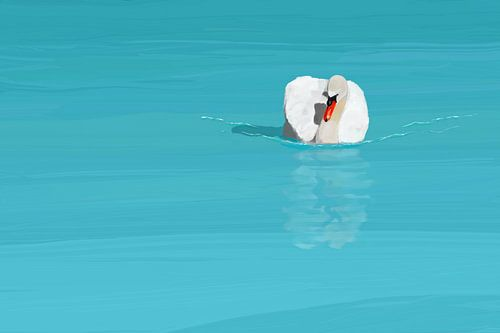 Weisser Schwan im blauen Wasser.  von Jan Brons