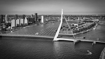 Uniek uitzicht Erasmusbrug & Skyline Rotterdam (zwart-wit)