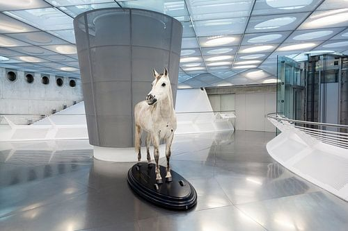 Wit paard in een moderne expositieruimte in het Mercedes-Benz museum in Stuttgart / 2013