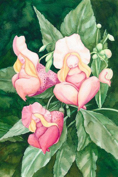 Slapende roze bloem vrouwtjes van Anouk Maria van Deursen